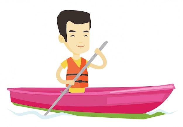 Hombre montando en kayak ilustración.