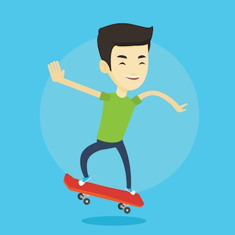 Hombre montando patineta ilustración vectorial.