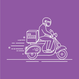 Hombre montando scooter con caja de cartón con productos del supermercado