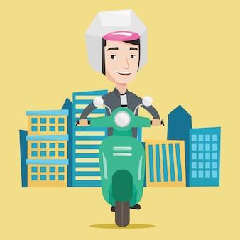 Hombre montando scooter en la ilustración de la ciudad