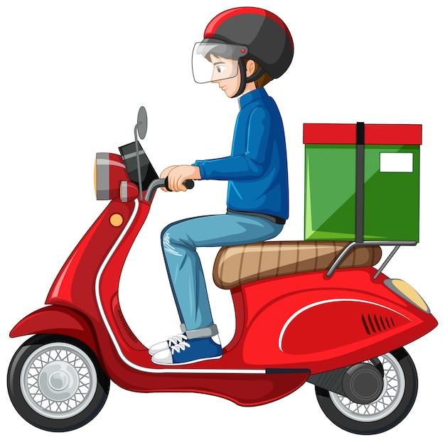 Hombre montando scooter sobre fondo blanco.