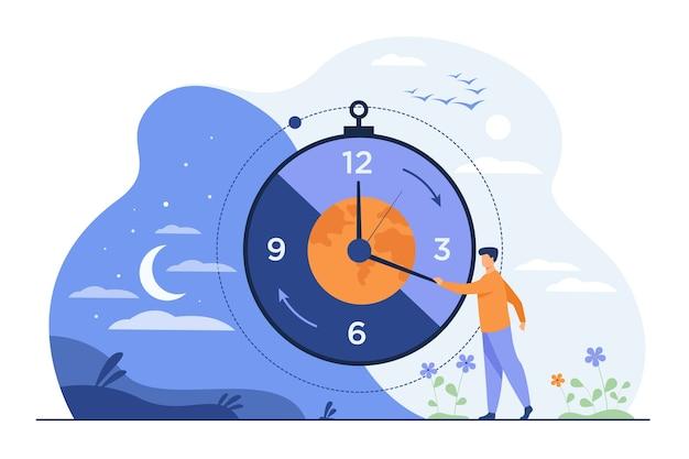 Hombre moviendo las flechas del reloj y gestionando el tiempo.