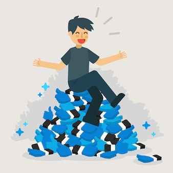 Hombre en muchas redes sociales como ilustración.