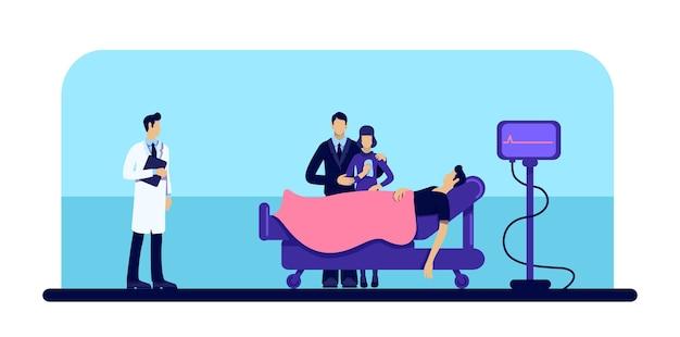 Hombre muerto en color plano del hospital. pérdida de personas. duelo familiar. cuerpo en clínica médica. paciente y médico personaje de dibujos animados 2d con cama con ruedas y monitor de cardiograma en el fondo