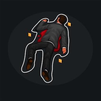 Hombre muerto en la víctima del asesino del piso, vector de ilustración de dibujos animados de contorno de tiza de la escena del crimen