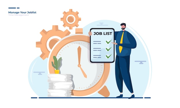 Un hombre muestra una lista de trabajos para la ilustración de gestión del tiempo.