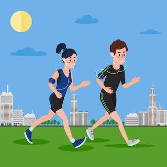Hombre y mujer con auriculares corriendo en la megalópolis