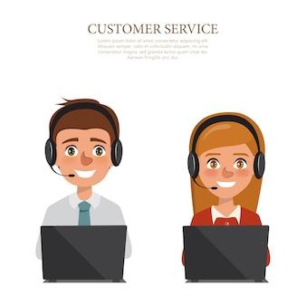 Hombre y mujer con auriculares del servicio al cliente y la comunicación.