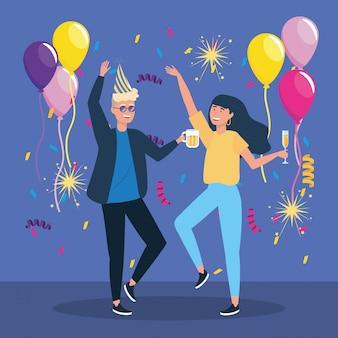 Hombre y mujer bailando con decoración de confeti.