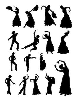 Hombre y mujer bailando silueta de flamenco