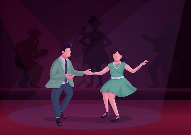 Hombre y mujer bailando twist color ilustración. bailarines de baile en los personajes de dibujos animados del escenario. pareja en fiesta de avivamiento vintage con sombras de audiencia sobre fondo