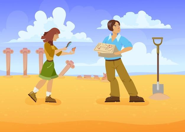 Hombre y mujer en busca de tesoros. ilustración vectorial de dibujos animados