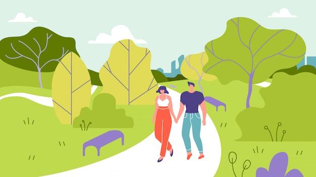 El hombre y la mujer caminan en el ejemplo del vector del parque.