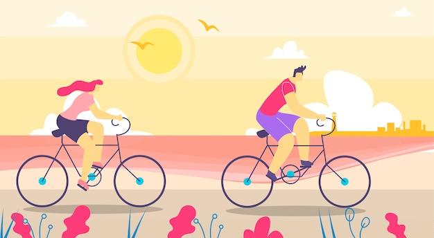 Hombre y mujer caminando en bicicleta plana de dibujos animados