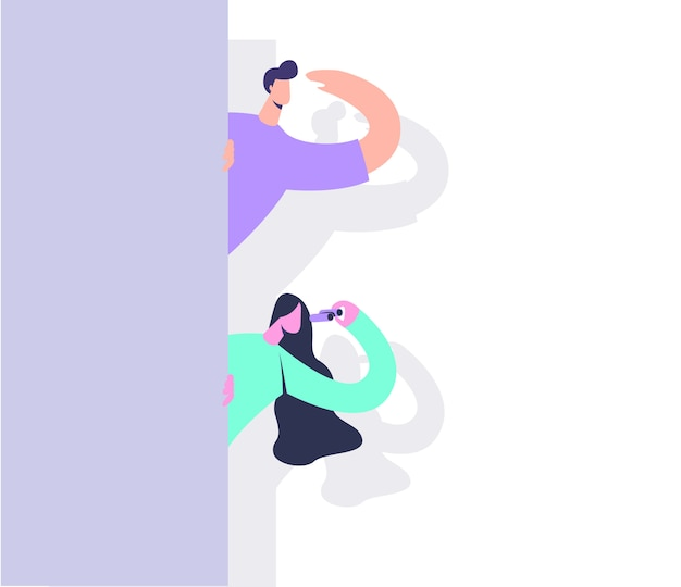 Hombre y mujer con carácter de binoculares.