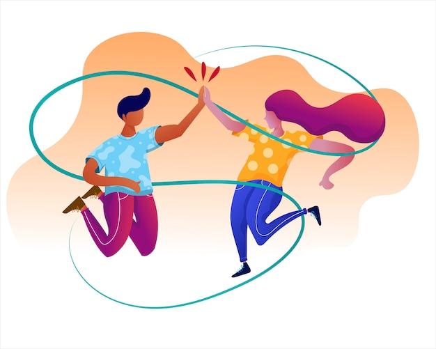 El hombre y la mujer celebran el éxito con cinco altos