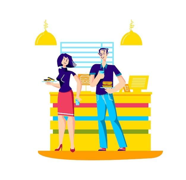 Hombre y mujer comprando comida rápida en restaurante.