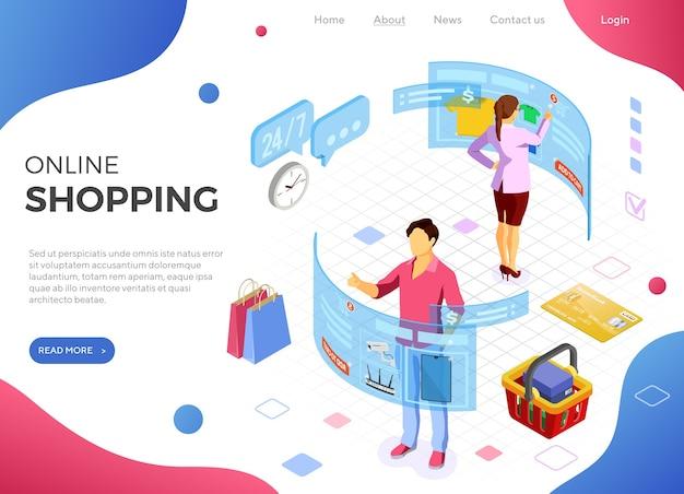 Hombre y mujer de compras con página de inicio de realidad virtual aumentada