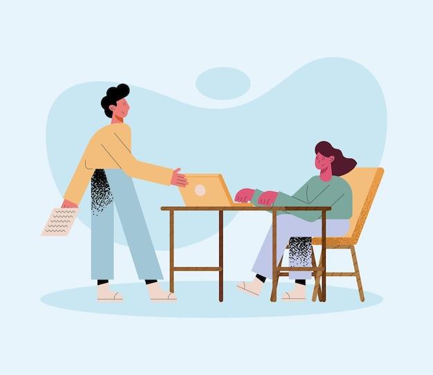 Hombre y mujer, con, computador portatil