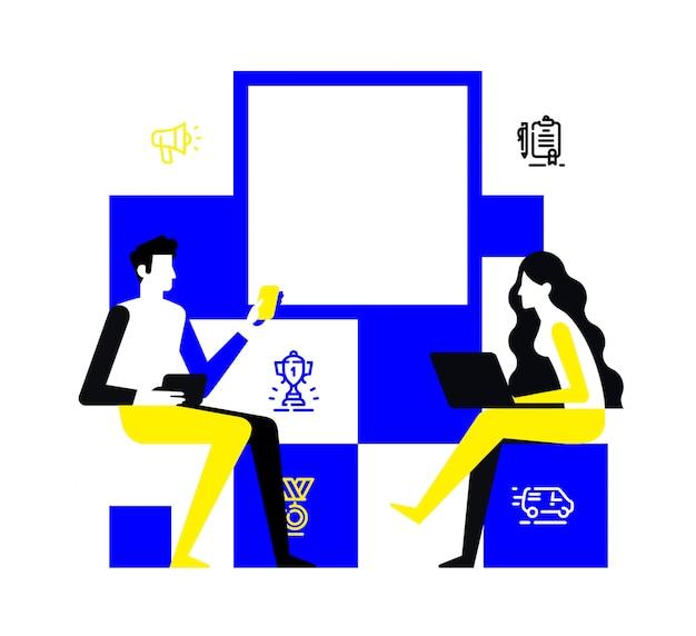 Un hombre y una mujer se comunican en una reunión.