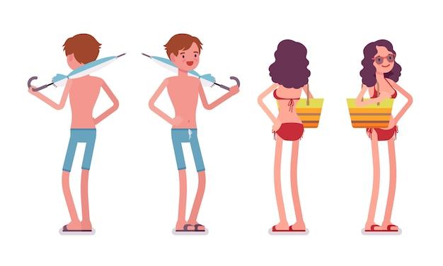 Hombre y mujer en un conjunto de ropa de playa, pose de pie