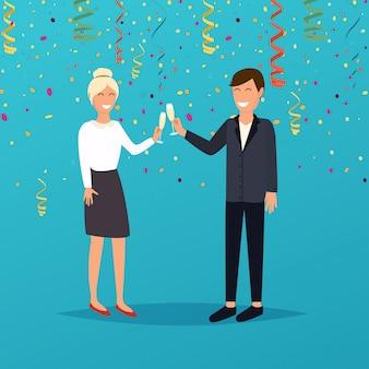 Hombre y mujer con copas de champán