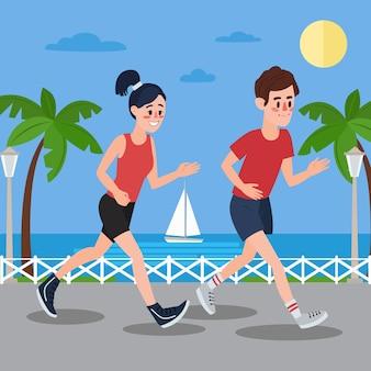 Hombre y mujer corriendo en el paseo marítimo