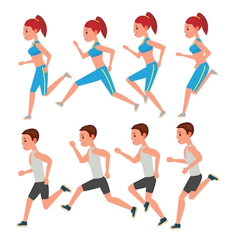 Hombre y mujer corriendo