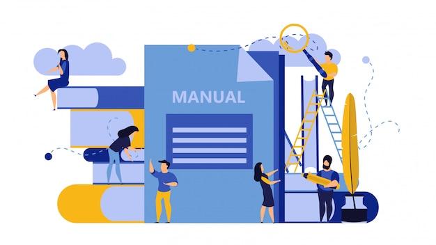 Hombre y mujer crean manual de documentos.