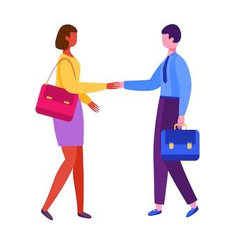 Hombre y mujer dándose la mano. sociedad de empresario. entrevista de trabajo, empleo.