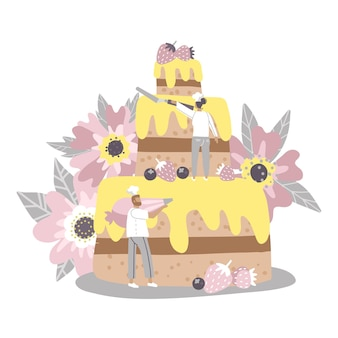 Hombre y mujer decorando tarta enorme