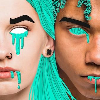 Hombre y mujer con detalles ilustrados de color verde