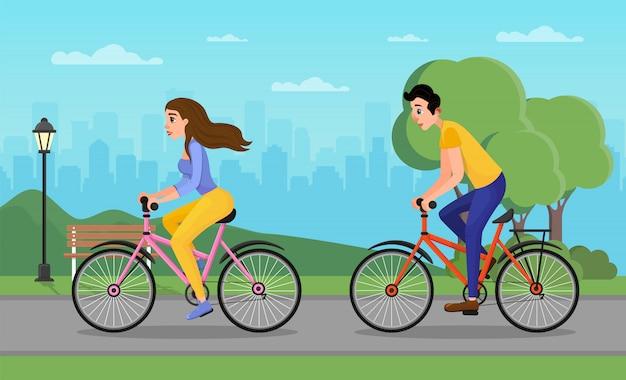 Hombre y mujer de dibujos animados en bicicleta en el parque urbano de la ciudad