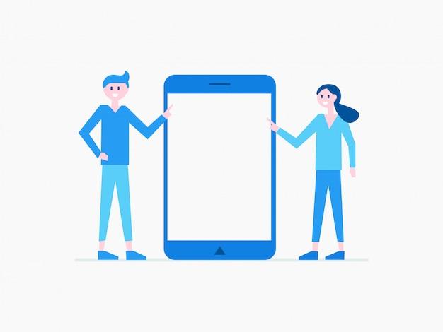 Hombre y mujer de dibujos animados con gadget moderno