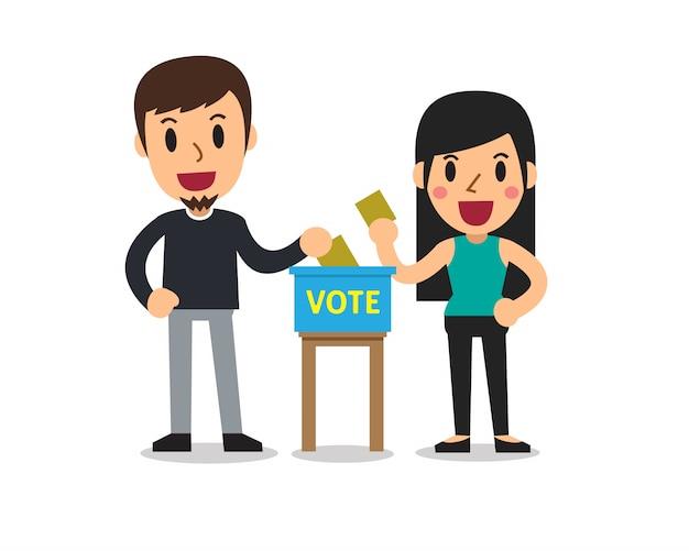Hombre y mujer de dibujos animados poniendo papeles de votación en la urna
