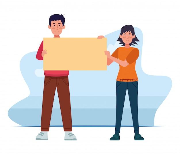 Hombre y mujer de dibujos animados sosteniendo una publicación en blanco sobre blanco