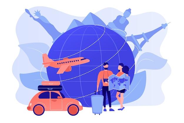 Hombre y mujer eligiendo destino de viaje, ir de vacaciones