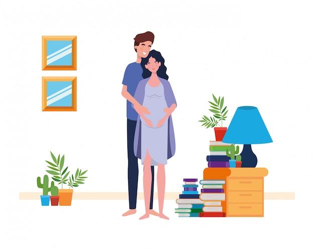 Hombre y mujer embarazada aislada