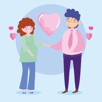 El hombre y la mujer embarazada de la familia aman el personaje de dibujos animados romántico corazones