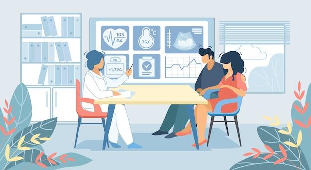 Hombre y mujer embarazada sentada en el doctor cabinet