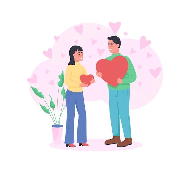 Hombre y mujer enamorados personajes detallados de color. expresa afecto con el corazón.