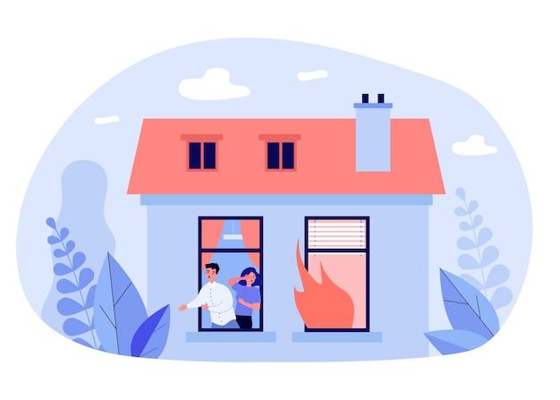 Hombre y mujer escapando del incendio de la casa en diseño plano