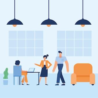 El hombre y la mujer en el escritorio en el diseño de la oficina, la fuerza laboral de los objetos de negocio y el tema corporativo
