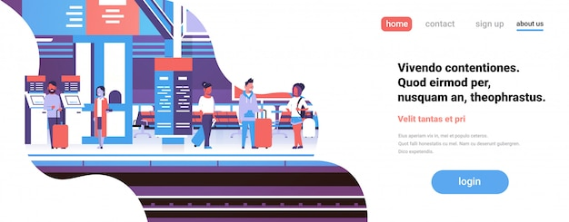 Hombre mujer esperando tren estación de tren pasajeros subterráneo interior banner plano copia espacio