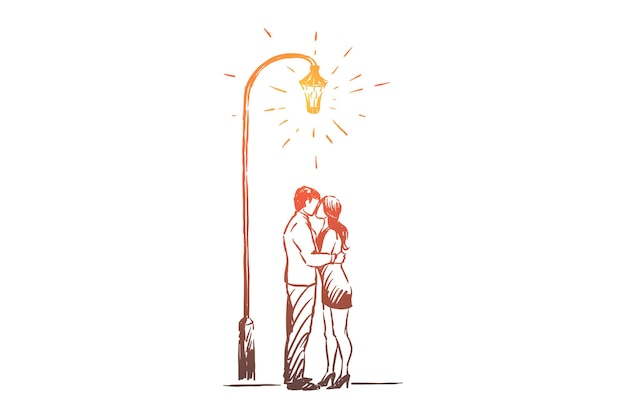 Hombre y mujer en fecha en el parque ilustración