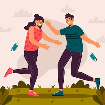 Hombre y mujer felices de encontrarse después del autoaislamiento
