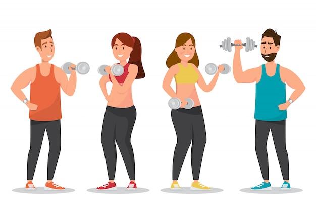 El hombre y la mujer felices vistieron una ropa de deportes y haciendo ejercicios con pesas de gimnasia