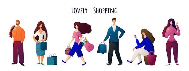 Hombre y mujer, gente con bolsas haciendo compras.