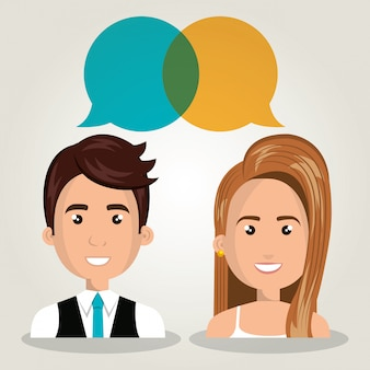 Hombre mujer hablando burbuja diálogo aislado