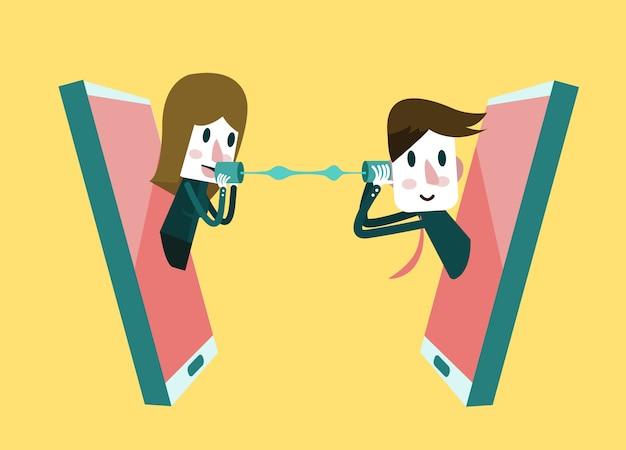 Hombre y mujer hablando por un teléfono móvil. elemento de diseño plano. ilustración vectorial